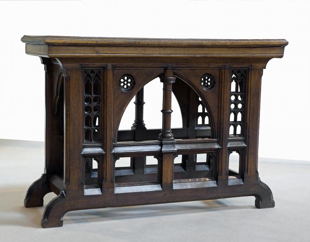 A heavily carved oak altar table from a church in Bollington, Cheshire, is  designed - Miscellaneana: English Arts & Crafts Furniture