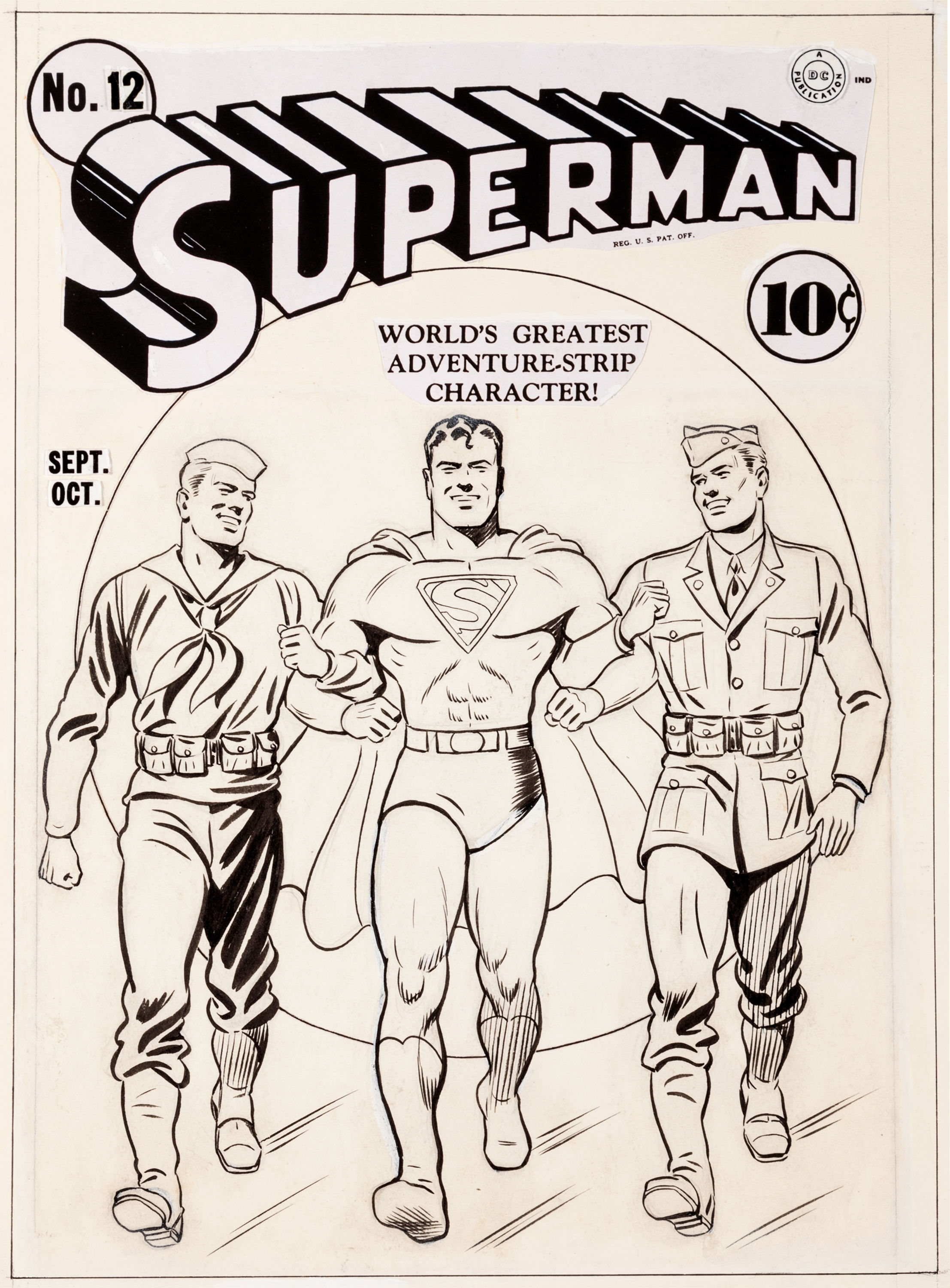 Jerry Robinson, an artist at DC Comics, had the foresight to save the original cover art from Superman No. 12 (Sept./Oct. 1941). Estimate: $125,000. Heritage Auctions images