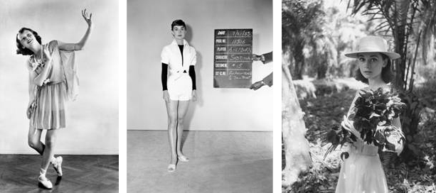 From left: Dance recital photograph by Manon van Suchtelen, 1942 © reserved; Costume test for 'Sabrina,' Paramount Pictures, 1953; Audrey Hepburn on location in Africa for 'The Nun's Story' by Leo Fuchs, 1958 ©Leo Fuchs