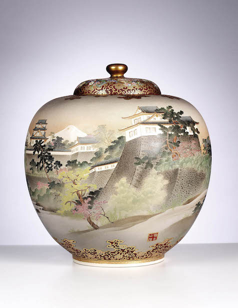 An exceptionally rare Satsuma urn with domed cover by Kinkozan is decorated with a view of the Imperial Palace at Kojimachi in Tokyo. Saleroom estimate: £12,000-£15,000. Photo: Bonhams.