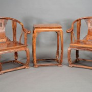 A three-piece huanghuali furniture set, late 20th century, is estimated at $20,000-$30,000. Michaan's images