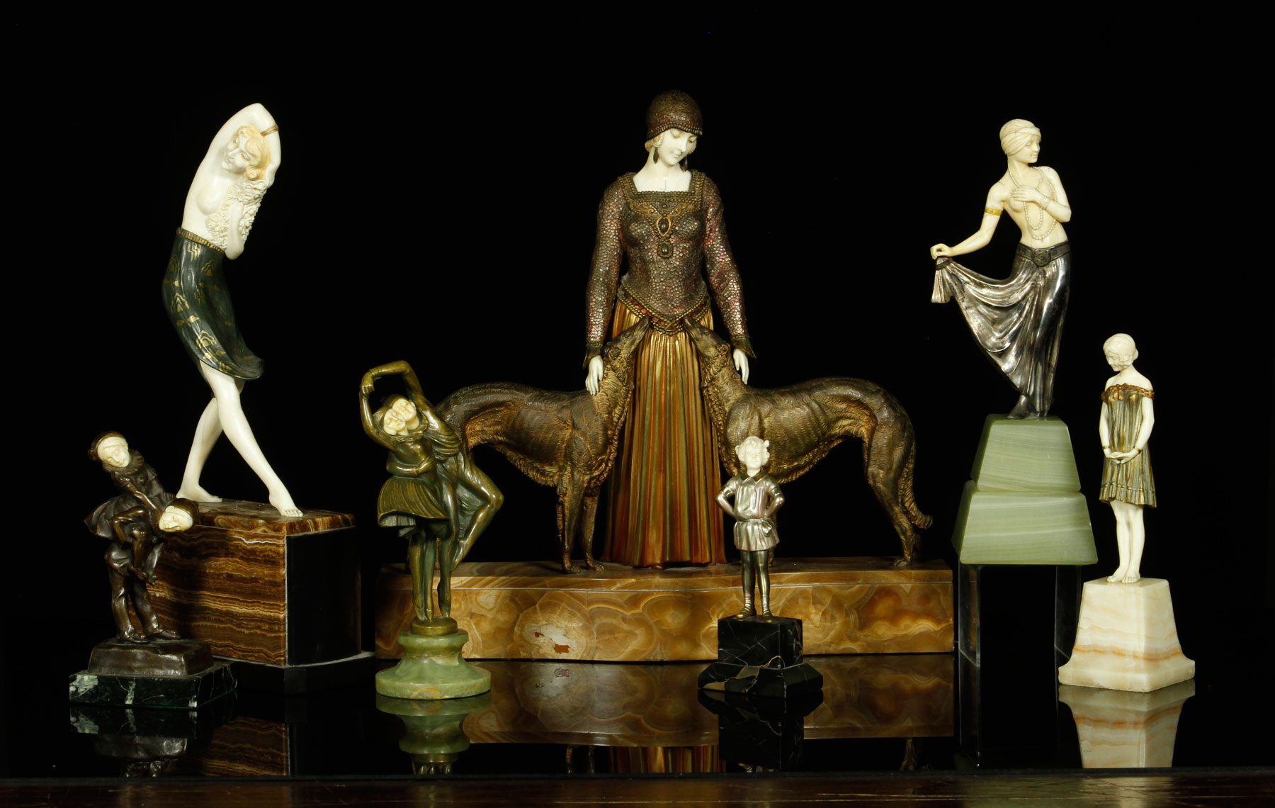 Kaminski Auctions' estates auction June 7 will feature a collection of Art Deco figures including pieces by Chiparus. Kaminski Auctions images