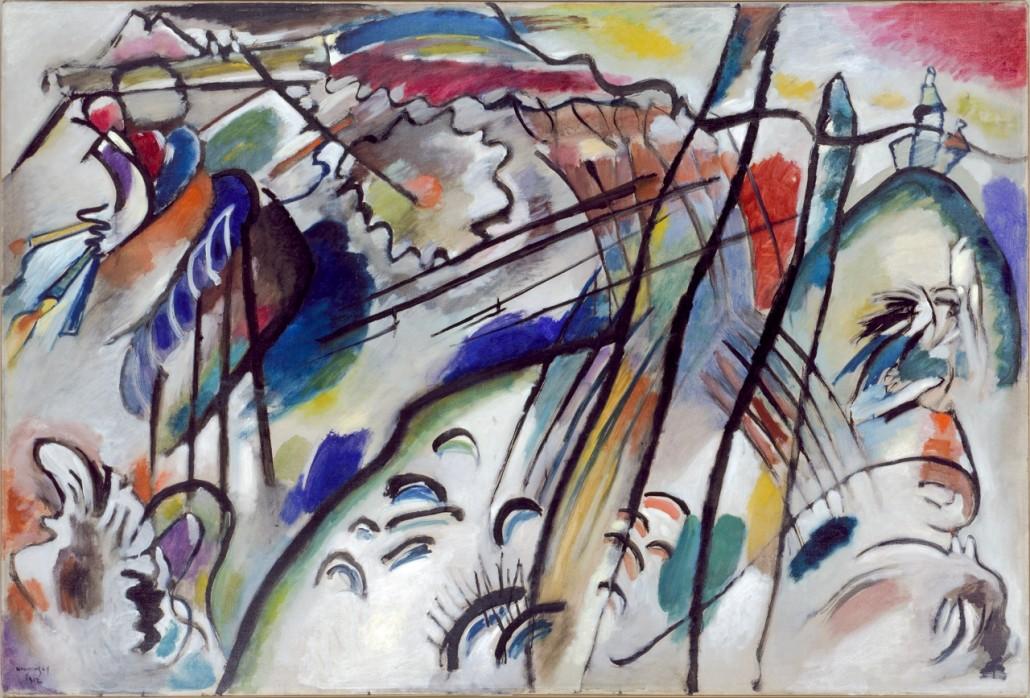 Vasily Kandinsky, Improvisation 28 (second version) (Improvisation 28 [zweite Fassung]), 1912. Oil on canvas, 111.4 x 162.1 cm. Solomon R. Guggenheim Museum, New York, Solomon R. Guggenheim Founding Collection, by gift 37.239
