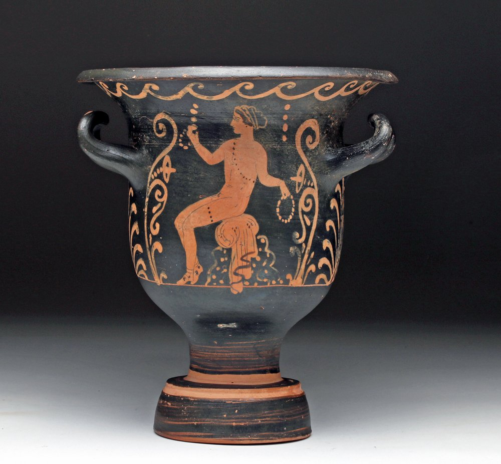 Greek Paestan red-figure bell krater, Magna Graecia, southern Italy, circa 340 to 330 BCE, ex collections of J. Kluge and P. Kluge, estimate $6,000-$8,000. Artemis Gallery image
