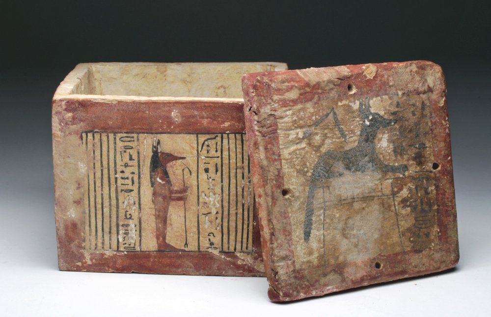 Polychrome gesso box, Egypt, 26th Dynasty, circa 662 to 525 BCE, with hieroglyphs on each of four panels, ex Adeon Gallery, Chicago; estimate $40,000-$60,000. Artemis Gallery image