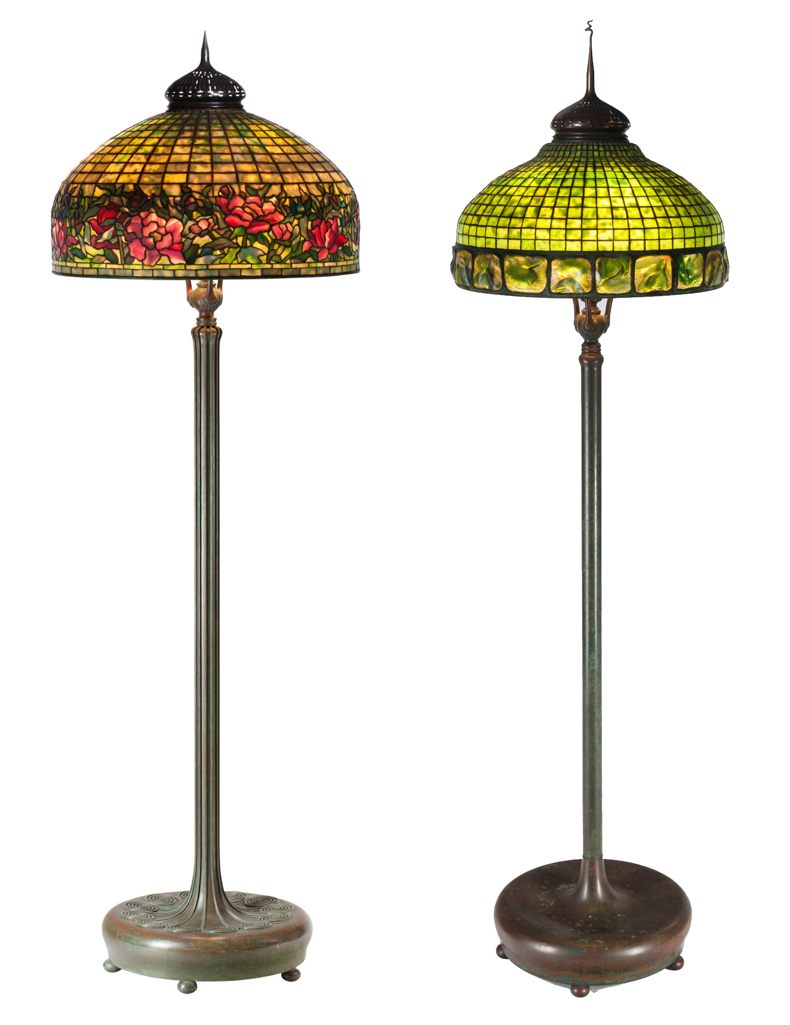 Tiffany Studios leaded glass and bronze floor lamps: On the left is a circa 1910 Peony Border lamp which realized: $131,000. The Turtleback tile lamp, circa 1910, sold for $106,250. Heritage Auctions images