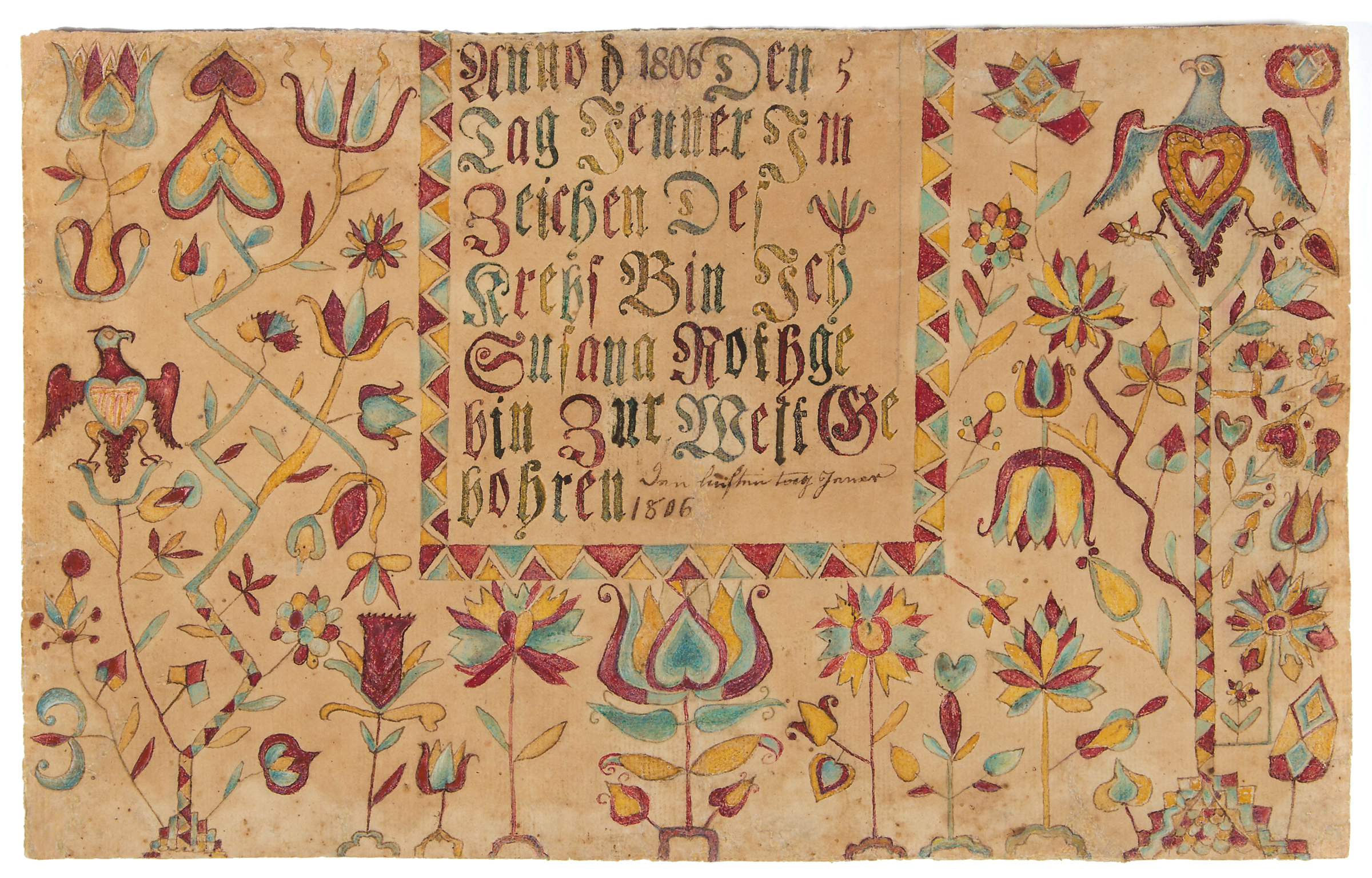 Jeffrey s evans hopes for great results from rare blanket chest the rare and important shenandoah valley of virginia folk art fraktur birth certificate made for susanna aiddatafo Gallery