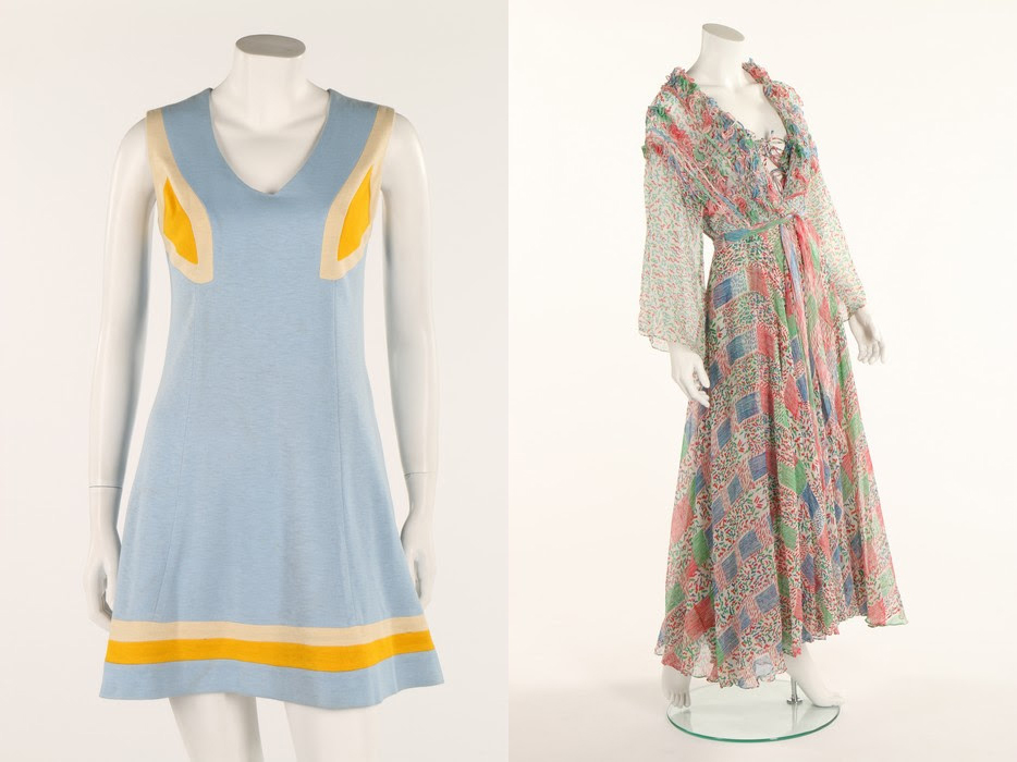 A rare, early Ossie Clark 'Hoopla' jersey minidress, circa 1965, sold for £687.50, and a fine Ossie Clark/Celia Birtwell chiffon dress and matching evening coat, 1976, brought £2,125. Kerry Taylor Auctions images