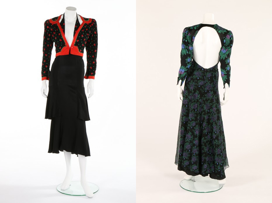 Two Ossie Clark/Celia Birtwell collaborations: a strawberry embroidered black crepe ensemble, 1971, sold for £1,875, and a printed chiffon and crêpe evening gown, circa 1974, made £1,625. Kerry Taylor Auctions images