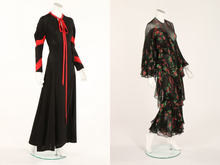 The Ossie Clark 'Heavenly Twins' black and scarlet moss crepe dress (left), 1970, was the top lot from the Celia Birtwell collection, selling for £11,250. The Ossie Clark/Celia Birtwell 'Ziggy Stardust' printed chiffon dress, 1973-74, realized £3,500. Kerry Taylor Auctions images