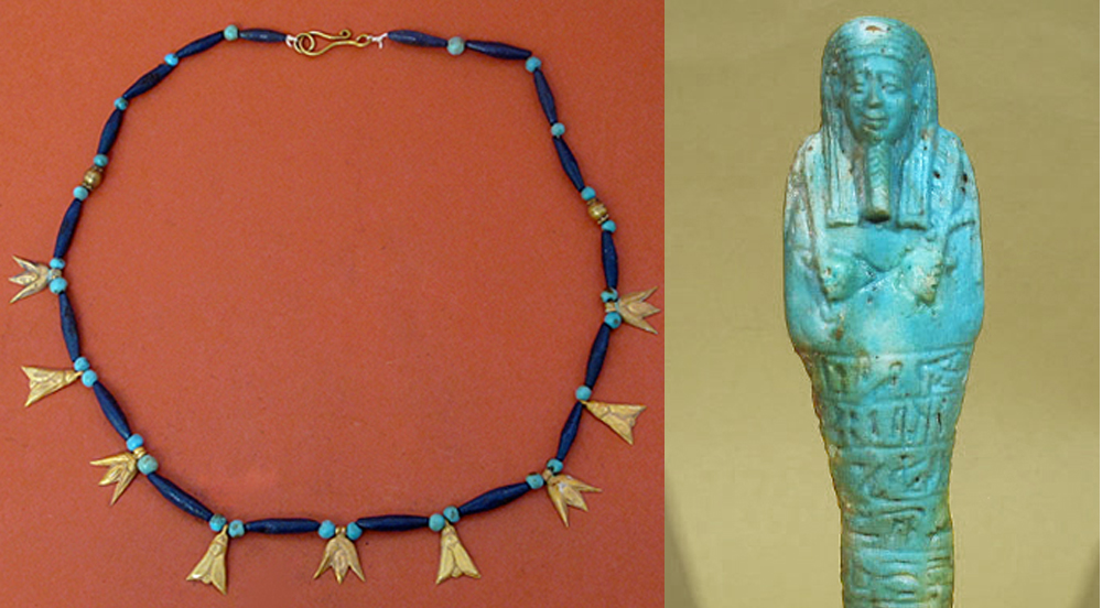 Egyptian artifacts in the Artemission auction include the faience and gold necklace with lotus and flies amulets, circa 1570-1320 B.C., and the 6 3/8-inch-tall faience shabti, circa 664-343 B.C. Artemission images