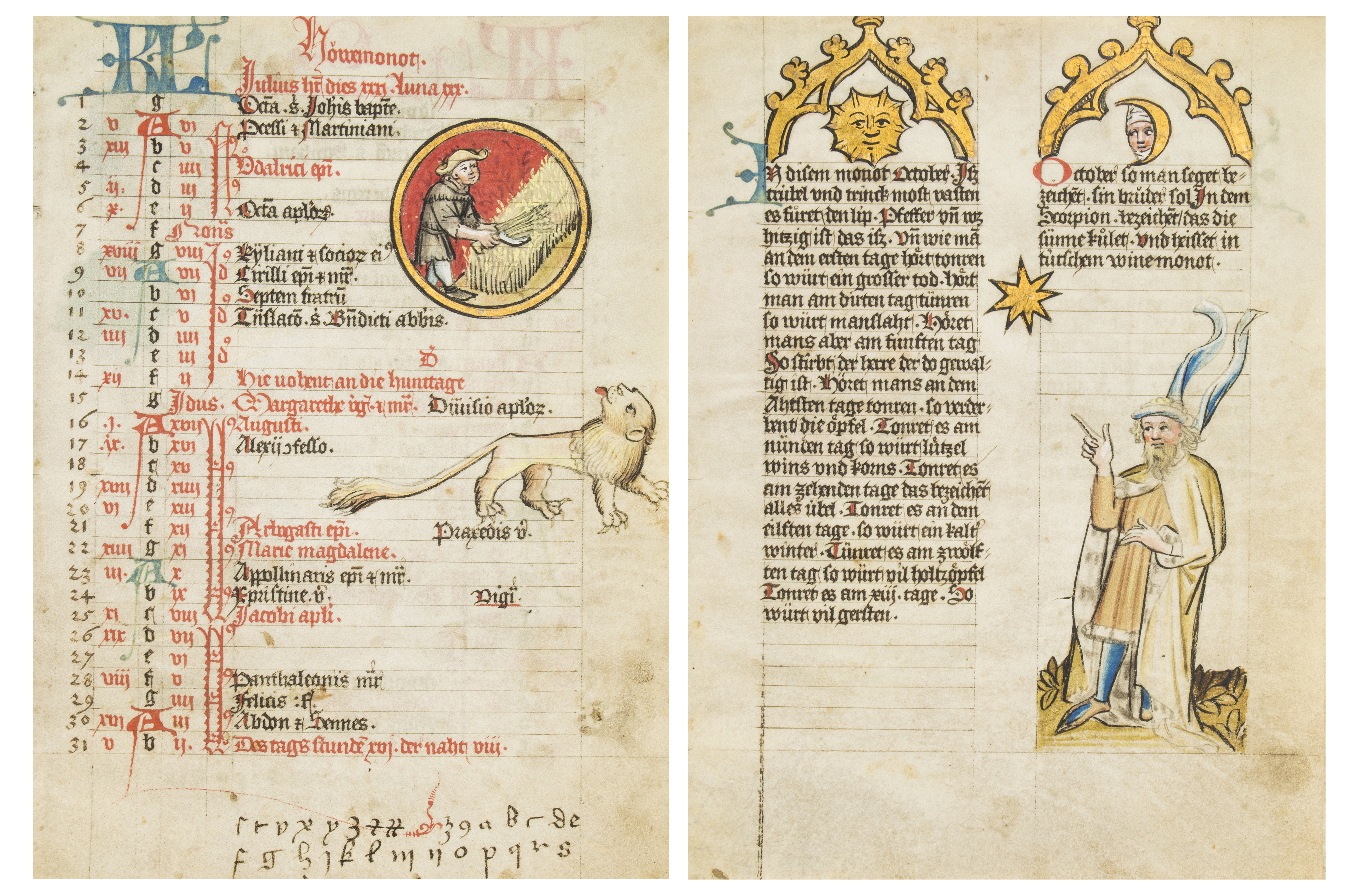 The Mckell Medical Almanack in German, illuminated manuscript on parchment, Alsace, circa 1445, 12 leaves. Estimate: £60,000–£80,000. Bloomsbury Auctions images