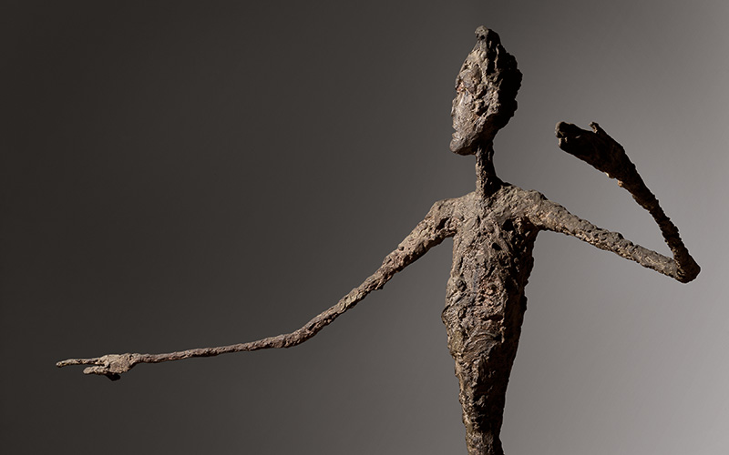 Detail of Alberto Giacometti's 'L'homme au doigt' (Pointing Man), which established a new record for the artist at Christie's, New York on May 11 selling for $141.2 million (£91.4 million). Image courtesy Christie's.