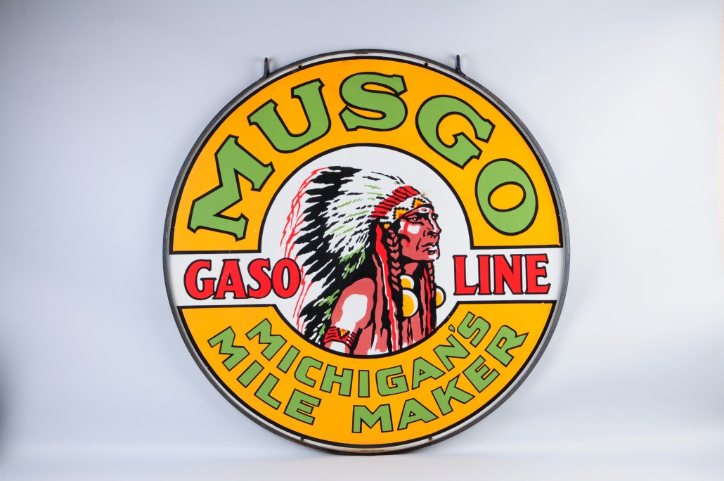 Musgo Gasoline porcelain advertising sign, Kyle D. Moore collection. Morphy Auctions image