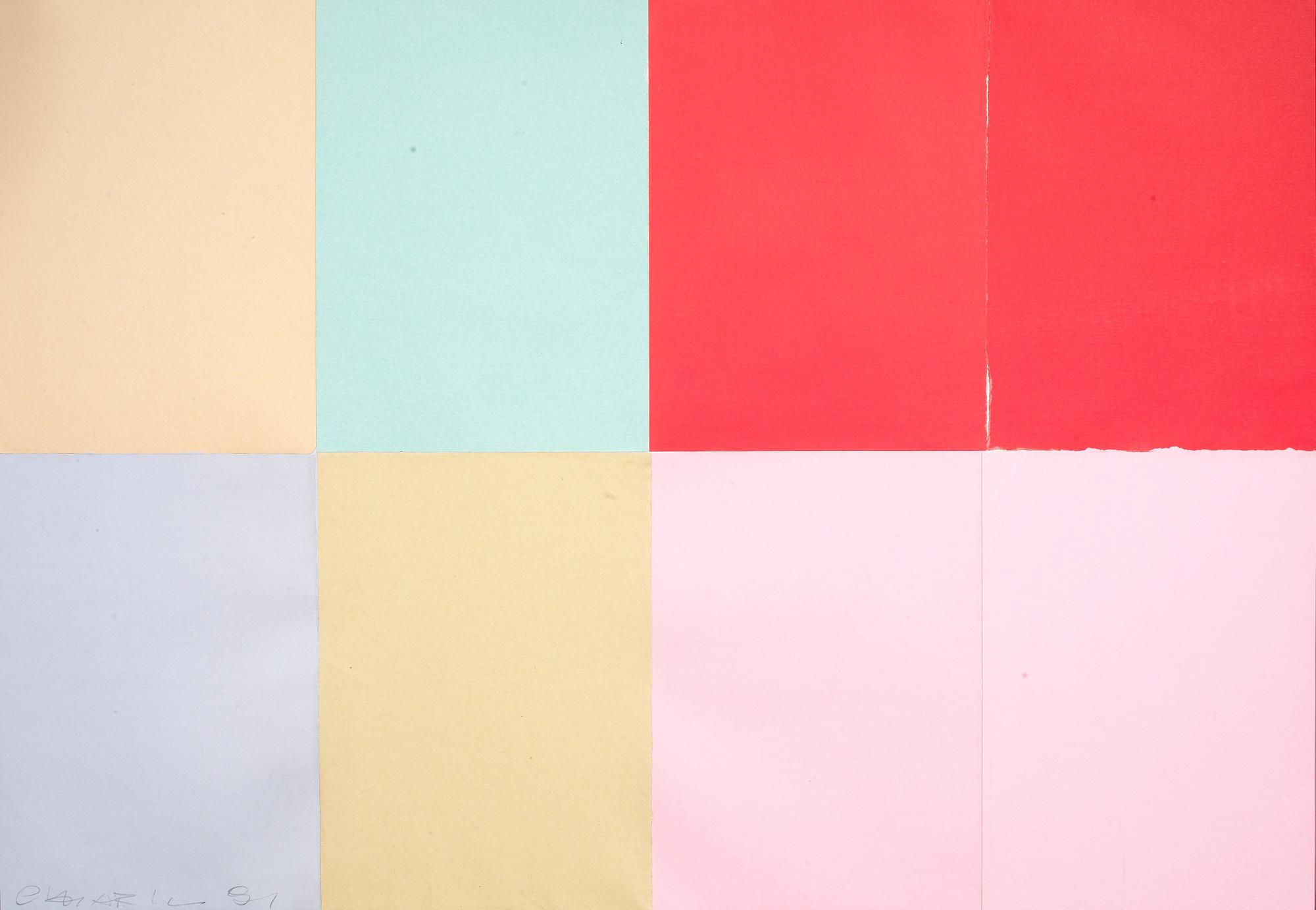 Giuseppe Chiari, 'Collage 8 carte,' 1981, collage su tela, cm 70 x 100, Courtesy Tornabuoni Art