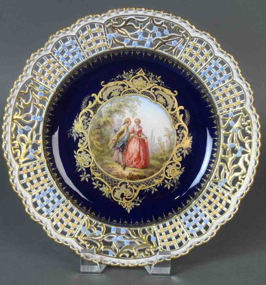 Set of five Meissen reticulated cabinet plates. Leighton Galleries image