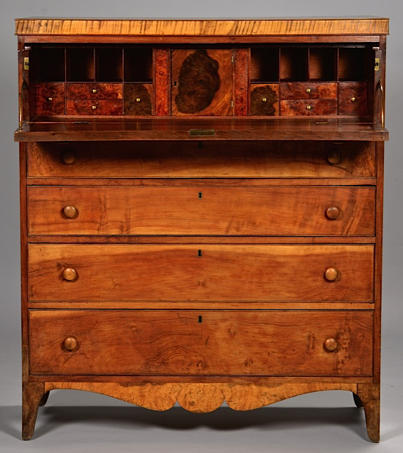 This unique Federal desk, labeled by well-documented East Tennessee cabinetmaker J.C. Burgner, featured a hidden stringed instrument under the top. It struck the right chord with buyers, competing to $63,720. Case Antiques image