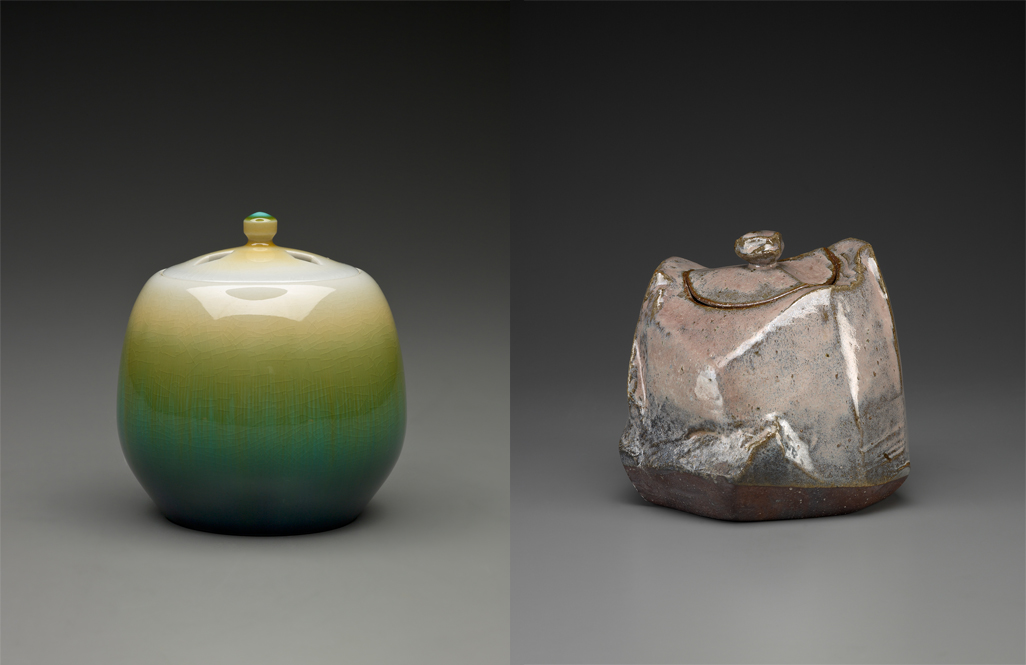 Tokuda Yasokichi IV (Japanese, b. 1916), Saiyu Censer (left), about 2002, porcelain with polychrome glaze. Purchased with finds provided by Tim and Jody Garrigus, 2001.137AA-B. © Tokuda Yasokichi IV. Kaneta Masanao (Japanese, b. 1953), Water Jar for Tea Ceremony (Mizusashi), 2006, wood-fired glazed stoneware, Hagi ware, 7 1/2 x 8 x 8in. Gift of John and Cynde Barnes, 2008.349A-B. © Kaneta Masanao.