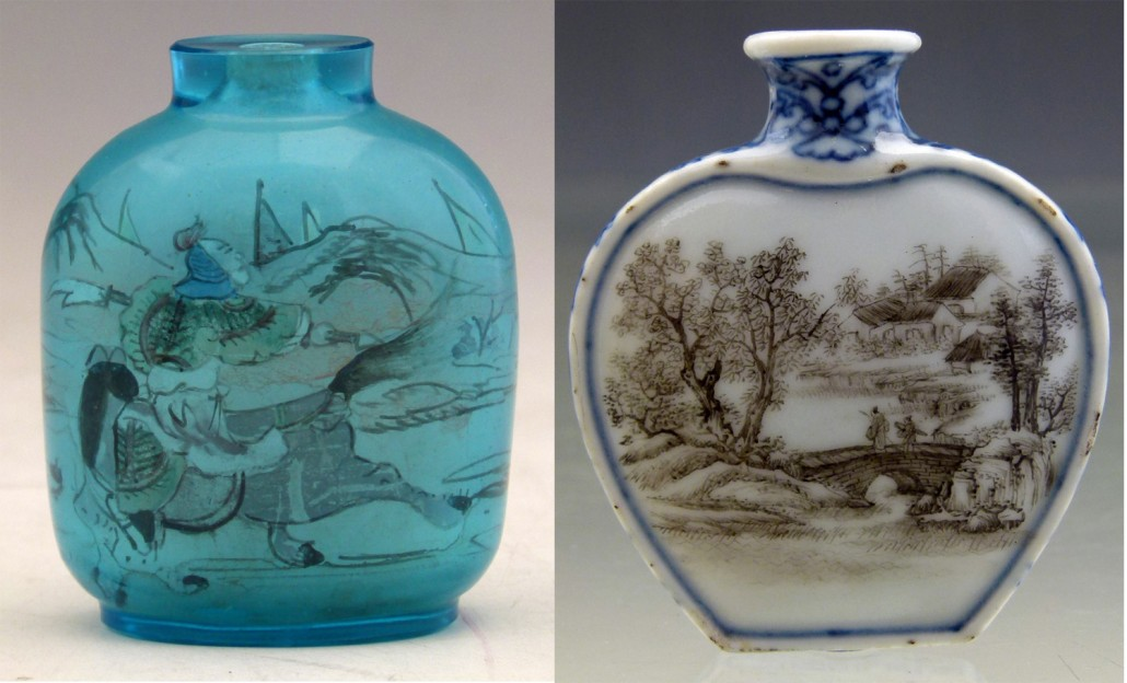 A transparent blue glass snuff bottle (left) inside-painted with a continuous scene of warriors on horseback. Saleroom estimate is £450-£500. A heart-shaped porcelain snuff bottle painted on one face with figures on a bridge in a landscape, and a lakeside view on the other. It sold for £1,700. Photos: Peter Wilson auctioneers