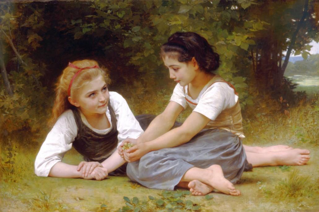 William-Adolphe Bouguereau (1825-1905), 'Les noisettes' aka 'The Nut Gatherers,' 1882. Image courtesy of Wikimedia Commons