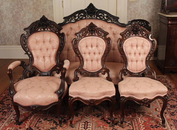 Four Piece Rosewood Rococo Parlor Suite By The Noted 19th Century Furniture  Maker J.