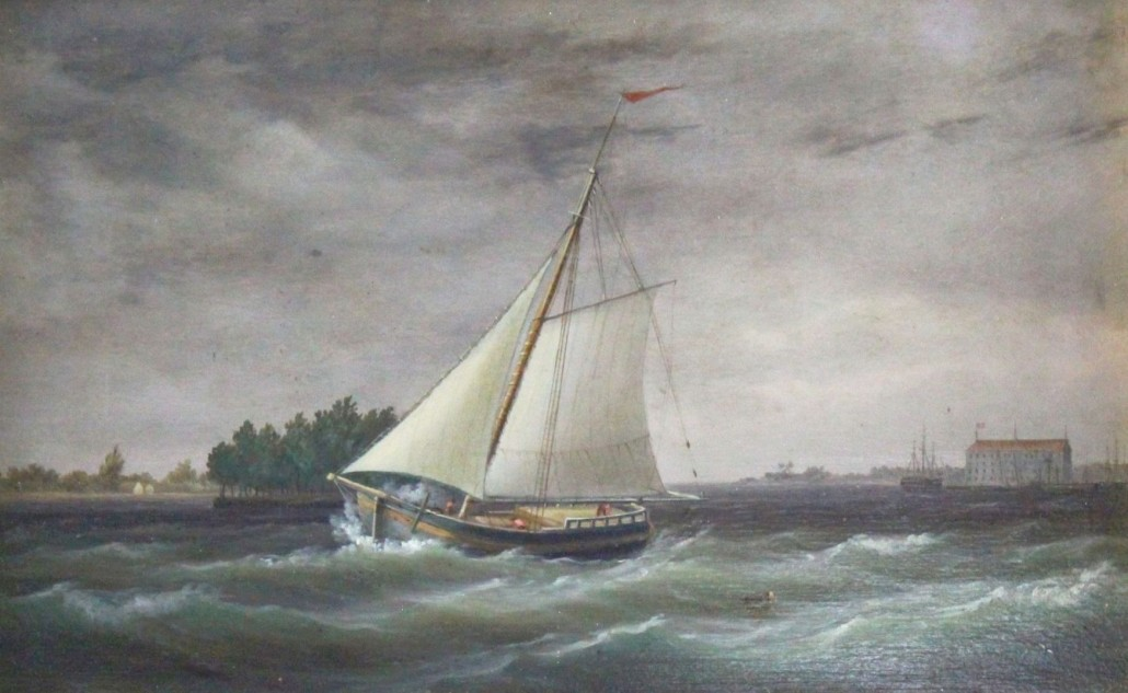 Painting of a merchant sloop sailing out of Philadelphia Harbor and leaving the Naval Yard behind by Thomas Birch (Pennsylvania, 1779-1851). Louis J. Dianni LLC image