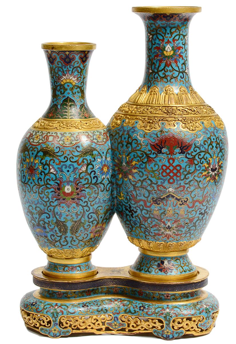 Chinese cloisonné double vase representing longevity, blossoms on blue ground, est. $8,000-$10,000. AGOPB image