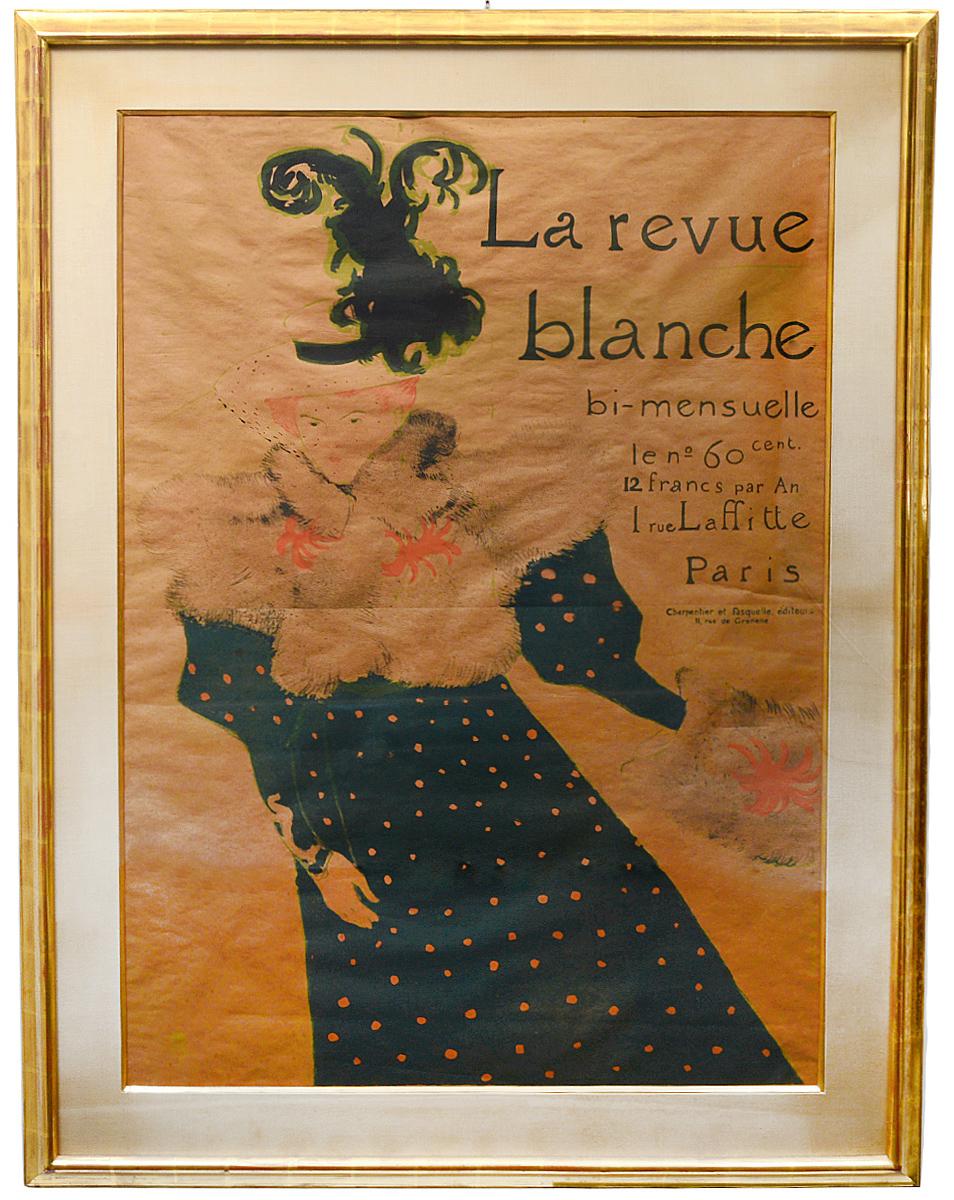 Circa-1895 Henri de Toulouse-Lautrec (French, 1864-1901) color poster titled 'La Revue Blanche,' est. $3,000-$5,000. AGOPB image
