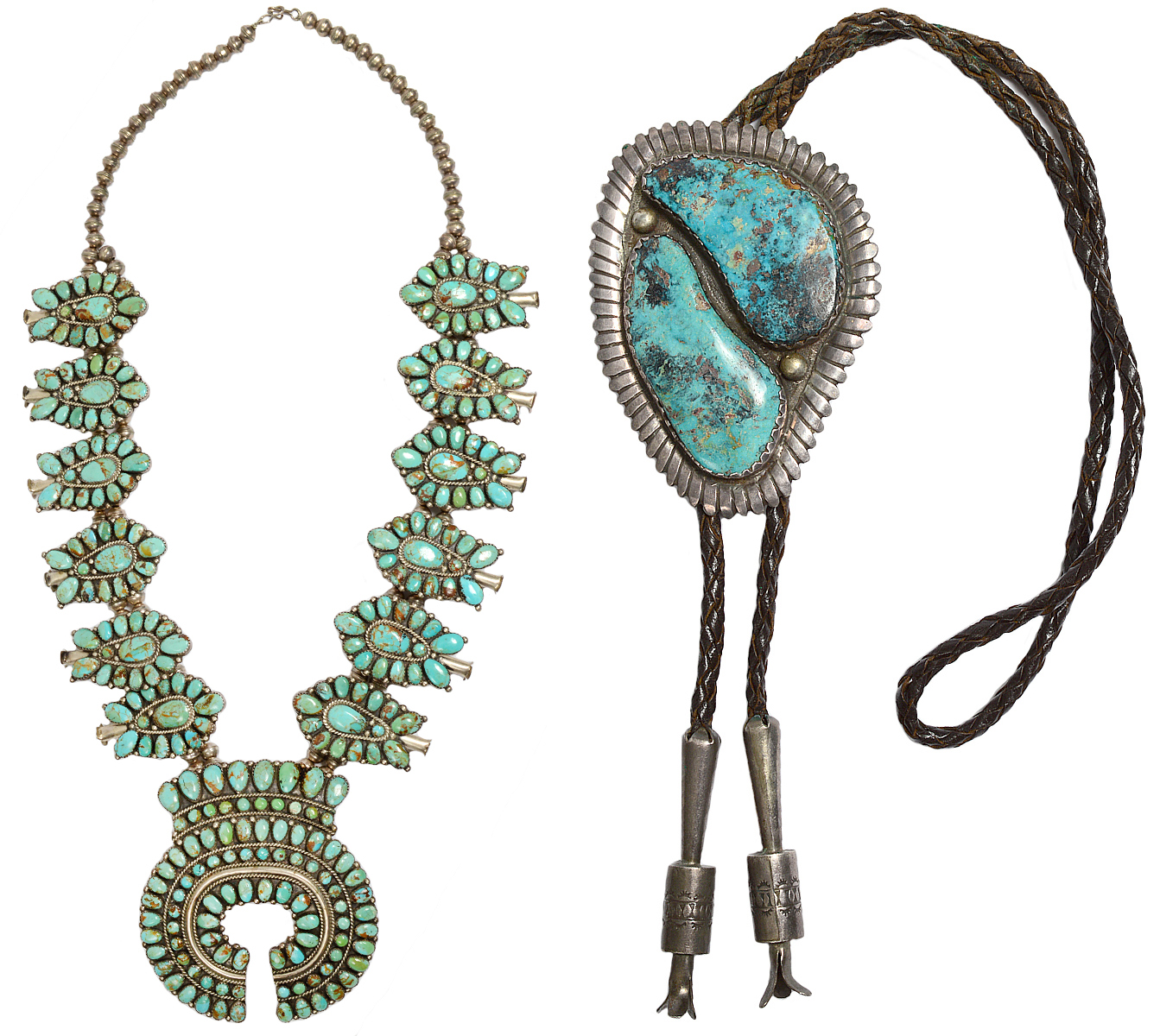 Navajo sterling silver and turquoise squash blossom necklace, signed 'LMB' for Lura Moses Begay. Estate of Edward Stuart Cohen. Native-American sterling silver old pawn bolo tie, initialed 'SFL' probably for Sedalio Fidel Lovato. Estate of Edward Stuart Cohen. AGOPB image