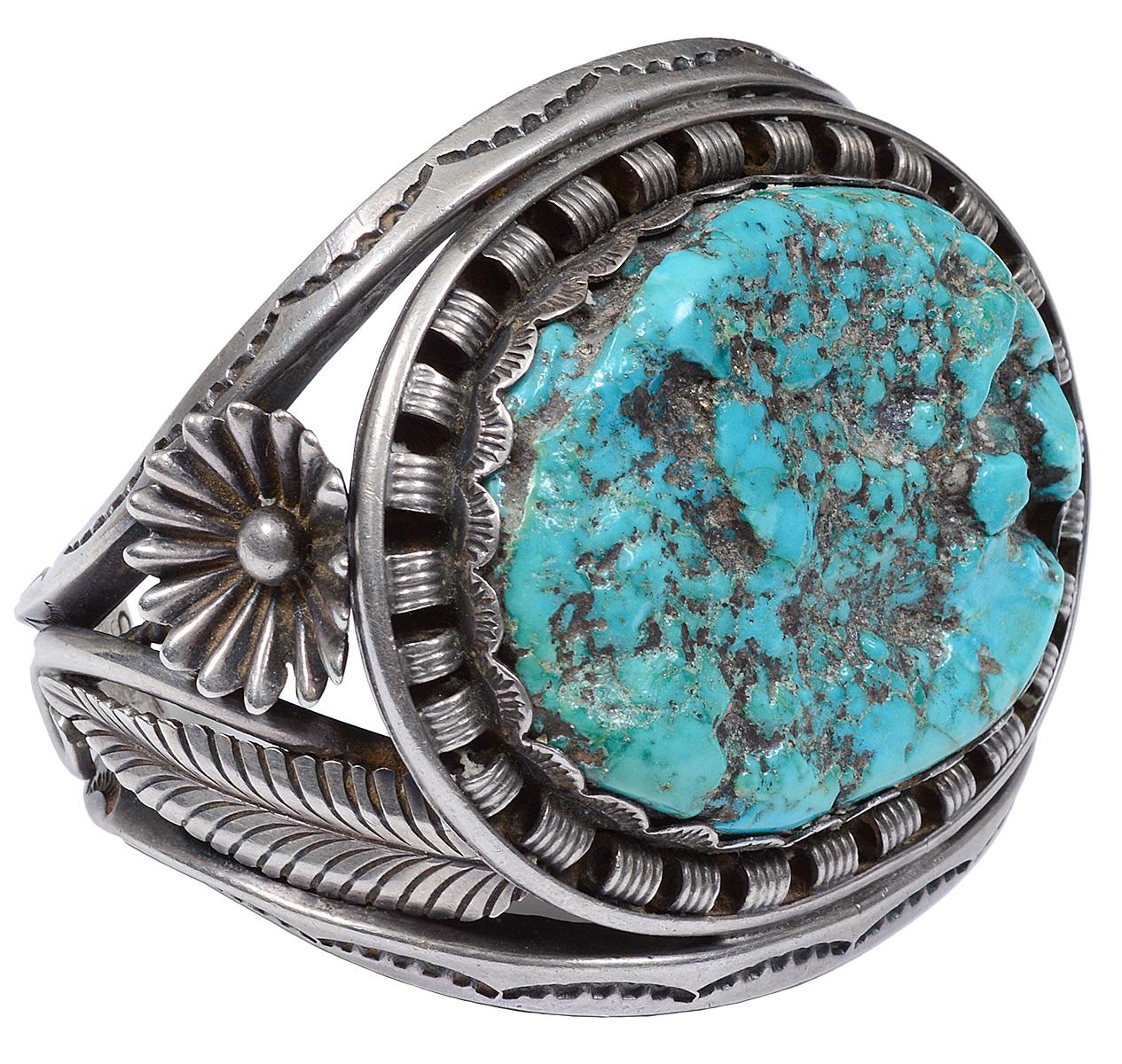 Native-American sterling silver old pawn cuff bracelet. initialed 'KS.' Estate of Edward Stuart Cohen. AGOPB image