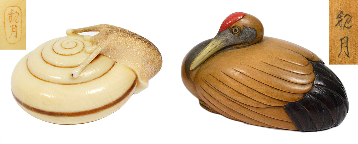 Lot 28, 'Snail' and Lot 145, 'Crane,' both by Shingetsu. Antique netsuke collection of the late John Homes. AGOPB image