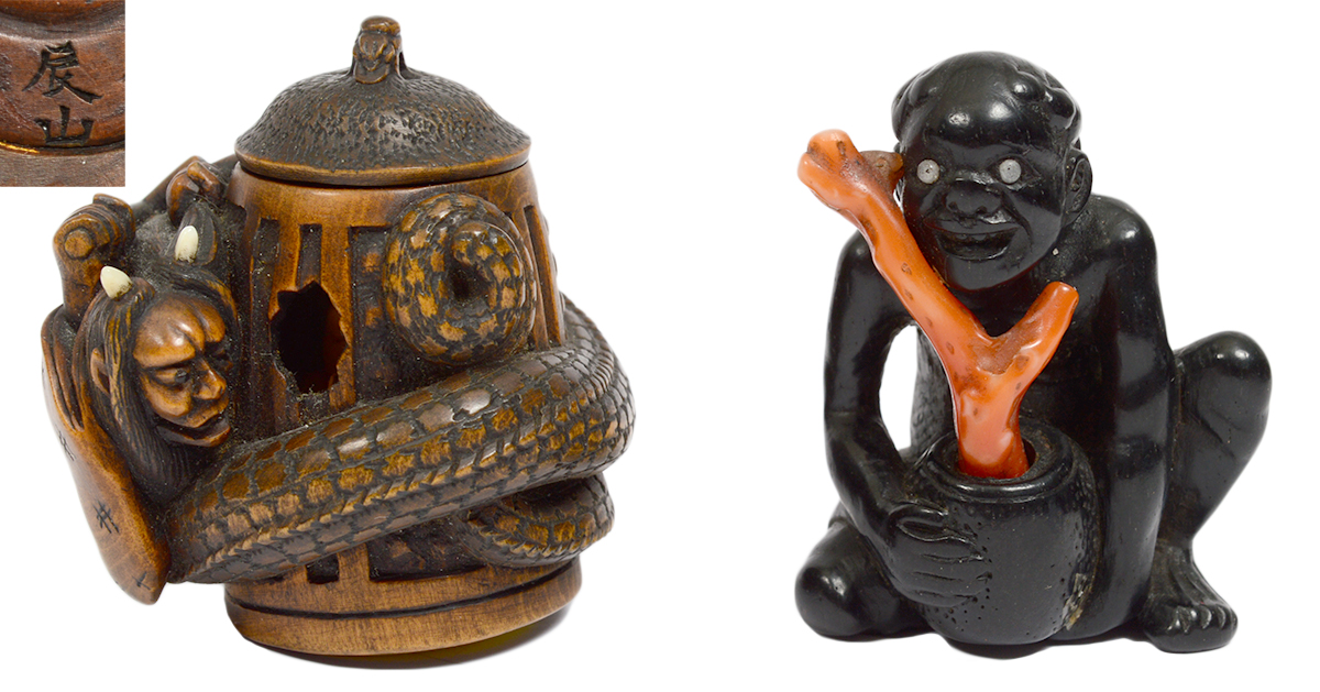 Lot 117, 18th century boxwood of 'Oni and Snake' and Lot 26, 18th century 'Ebony Man with Coral Branch.' Antique netsuke collection of the late John Homes. AGOPB image