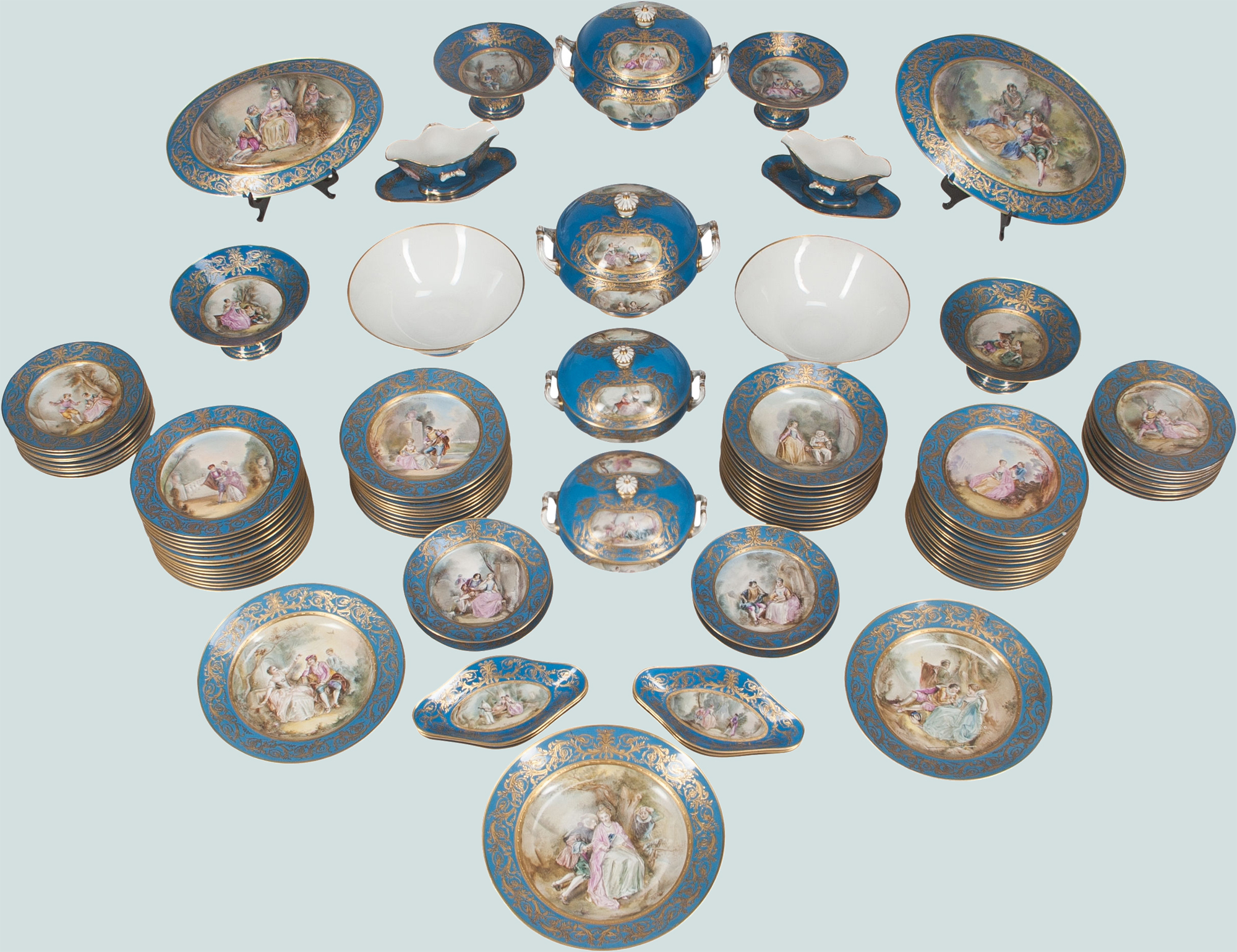 Some of the 96-piece Sèvres-style porcelain service (est. $30,000+). Heritage Auctions image