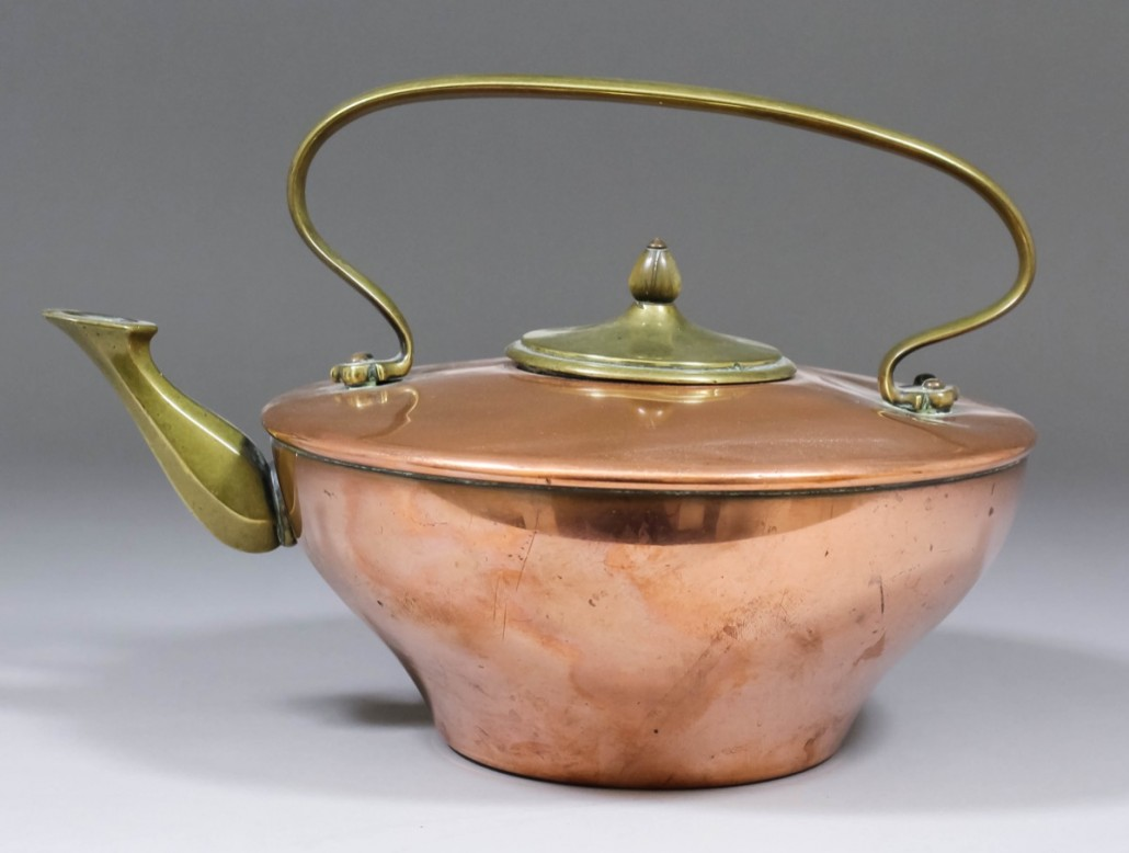 A copper and brass teakettle by Benson with an estimate of £100-£150. Photo The Canterbury Auction Galleries