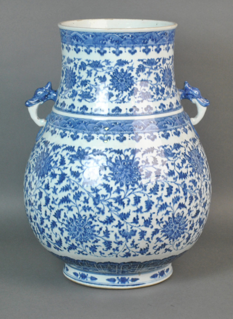Chinese blue and white porcelain vase. Hammer price: $8,500. Leighton Galleries image