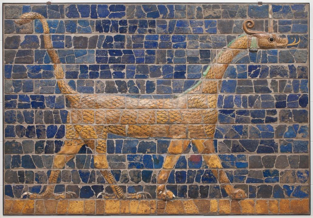 Mushhushhu dragon, 'Symbol of the God Marduk,' unknown artist, Babylonian, Iraq, 604-562 B.C., glazed ceramic. Detroit Institute of Arts