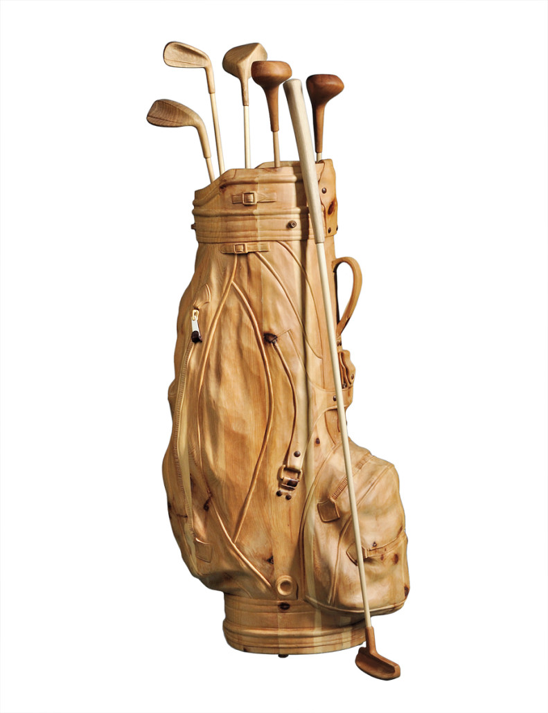 No, it's not a golf bag. It is a life-size unpainted wood sculpture by a contemporary Italian artist. It sold at a Skinner auction in Boston for $3,240.
