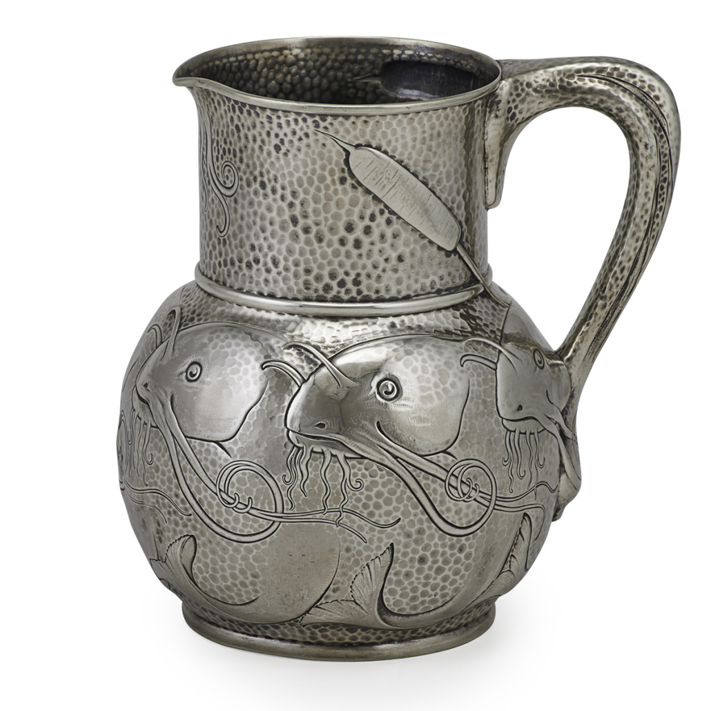 Images of catfish adorn this silver water pitcher made by Tiffany & Co. It sold for $18,750 last year at Rago Arts auction in Lambertville, N.J.
