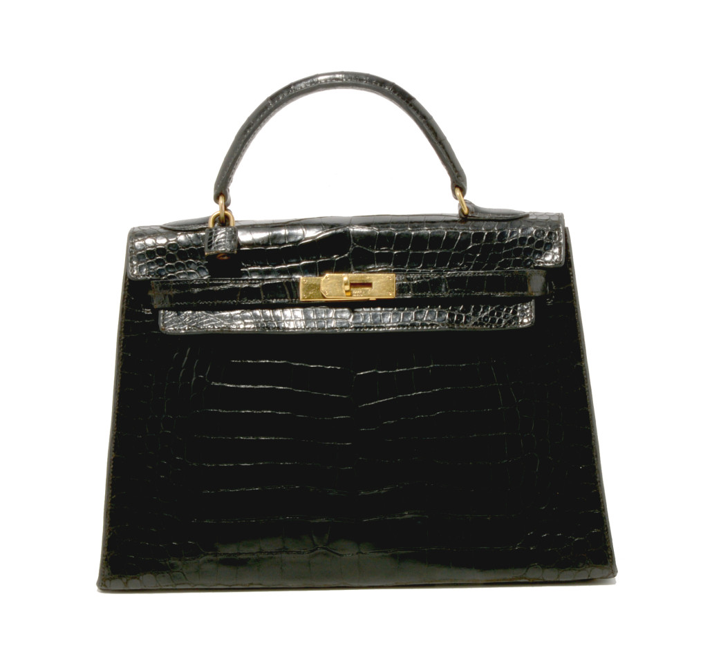 Hermes black crocodile Kelly bag comes with its original box. Estimate: $17,000-$20,000. Michaan's Auctions image