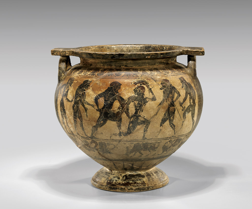 Painted with dark brown and red slip, this large Corinthian krater is expected to sell for $15,000-$30,000. I.M. Chait Gallery/Auctioneers image
