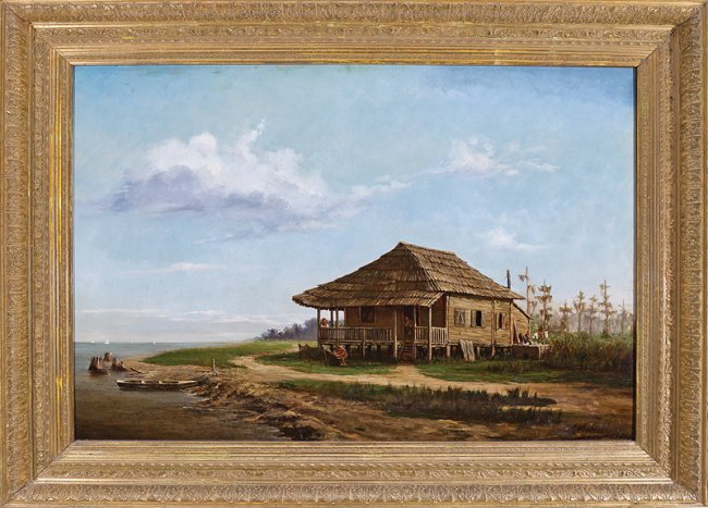 Andres Molinary (American/New Orleans), 'North Shore, Lake Pontchartrain (Fisherman's Cabin),' 1884, oil on canvas, signed and dated lower right, 24 in. x 36 in., original giltwood frame. Price realized: $261,500. Neal Auction image