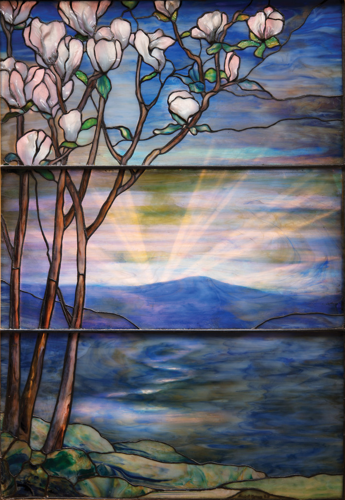 Louis Comfort Tiffany developed groundbreaking techniques for working and coloring glass with progressive shading. This Magnolia window, which once graced a domestic setting, brought $177,000 in 2012. Garden Museum Collection, Michaan's Auctions