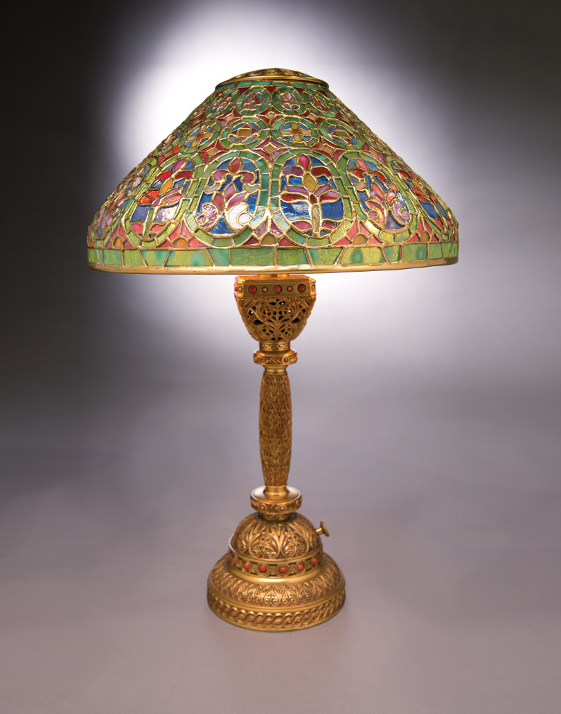 The Venetian/9th Century lamp with its intricate shade and base complements Tiffany desk accessories. Part of the 2012 auction of the Garden Museum Collection from Japan, this example brought $112,100 at Michaan's. Garden Museum Collection, Michaan's Auctions