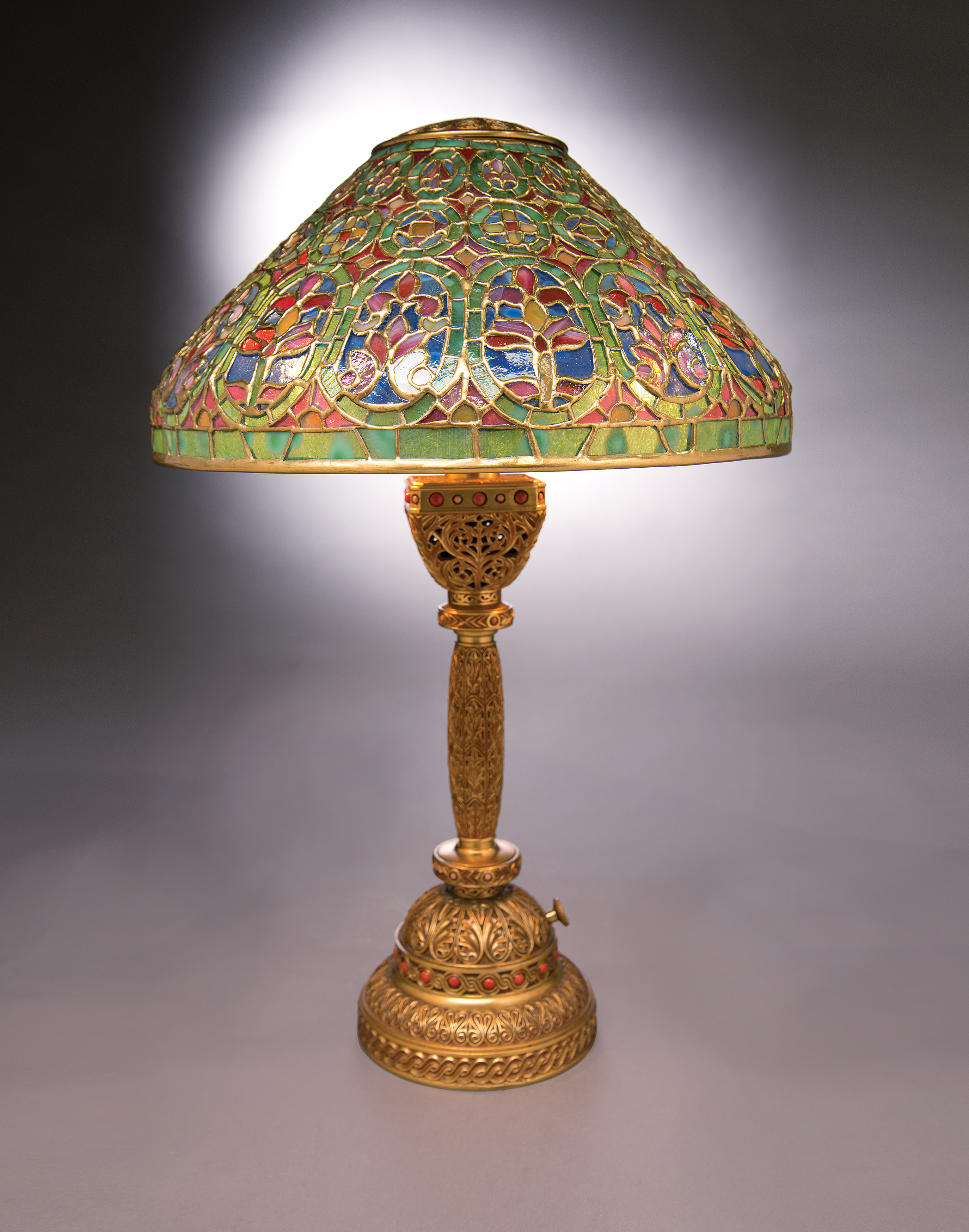 Tiffany glass continues to make lighting magical the venetian9th century lamp with its intricate shade and base complements tiffany desk accessories arubaitofo Gallery