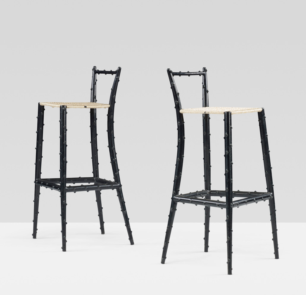 Fornasetti's approach to practical seating – around 20 examples of this rare high stool were made of rubberized steel and nylon cord. This pair turned up at a Wright Important Design sale in 2013. Courtesy Wright Auctions.