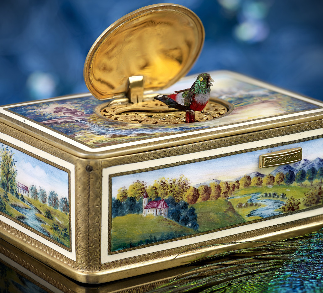 Enameled music box with bird automaton. Fellows Auctioneers image