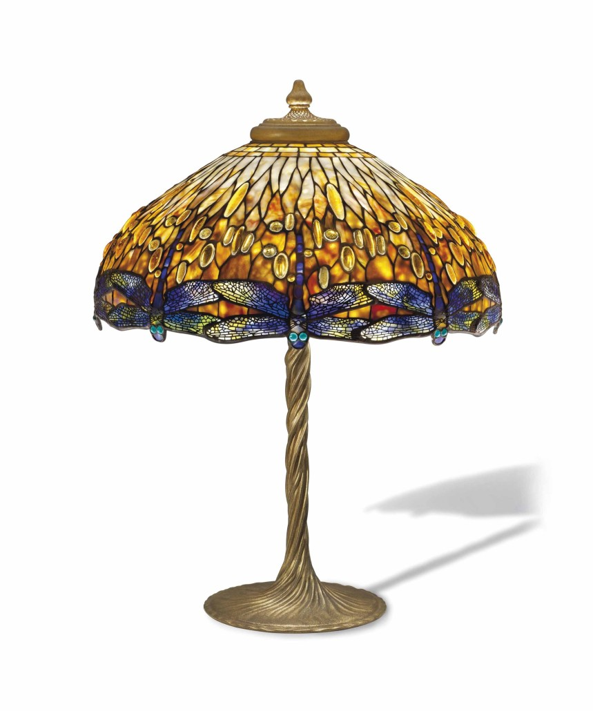 Perfectly suited to the shade's shape, dragonflies were a popular motif that Tiffany adapted to several lamp designs. From the Malakoff collection, this example has the desirable dropped heads that extend below the bottom rim of the shade and brought $245,000 at Christie's in December 2014. Courtesy Christie's