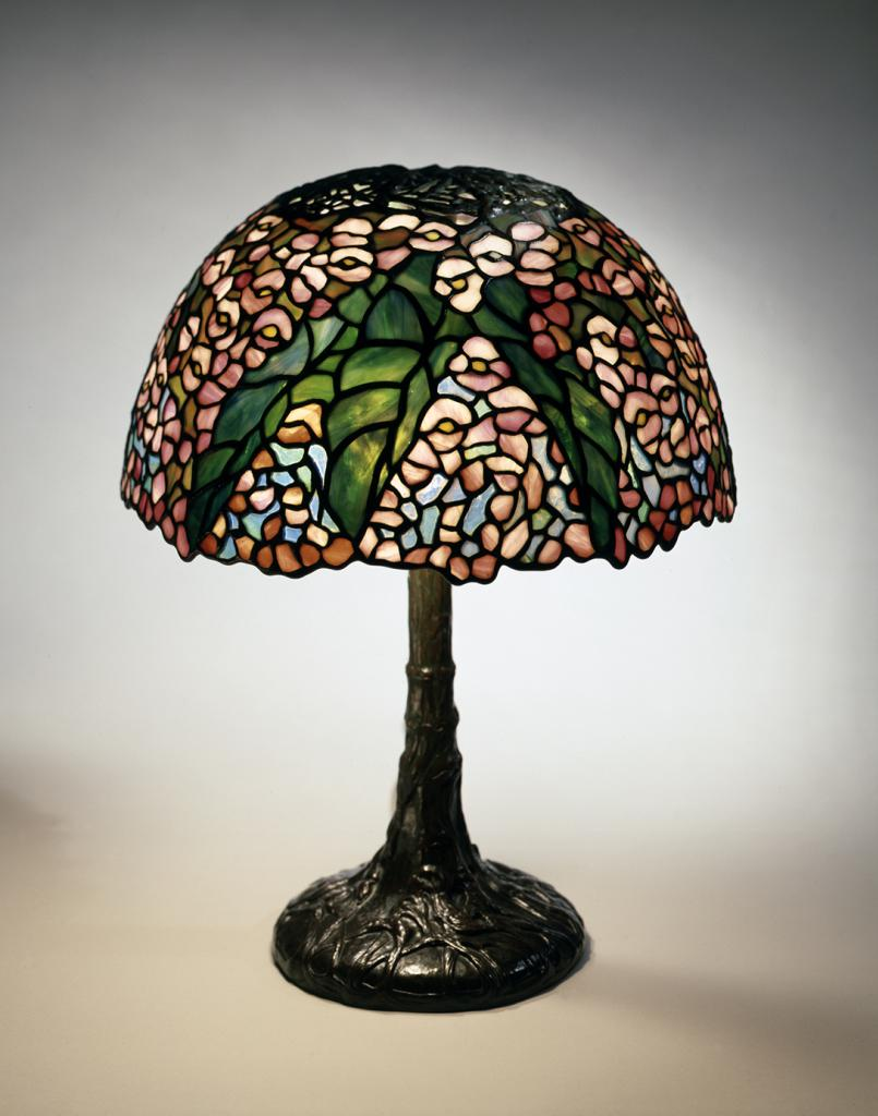 Dr. Egon Neustadt and his wife, Hildegard, were pioneering collectors of Tiffany glass. On exhibit at Winterthur, 'Tiffany Glass: Painting with Color and Light' presents five windows and 19 lamps, including this Begonia reading lamp. The Neustadt Collection of Tiffany Glass, New York