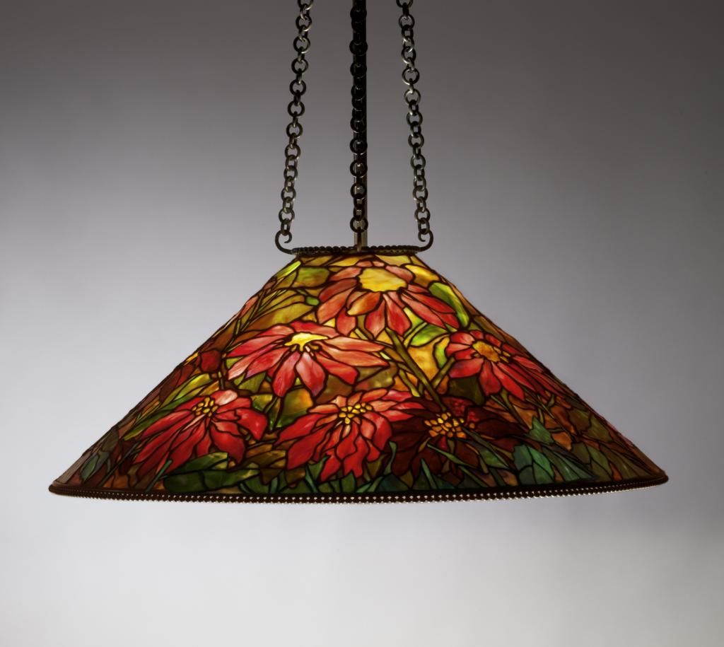 In addition to table models, Tiffany made hanging shades for ceiling fixtures. The Neustadt Collection of Tiffany Glass, New York
