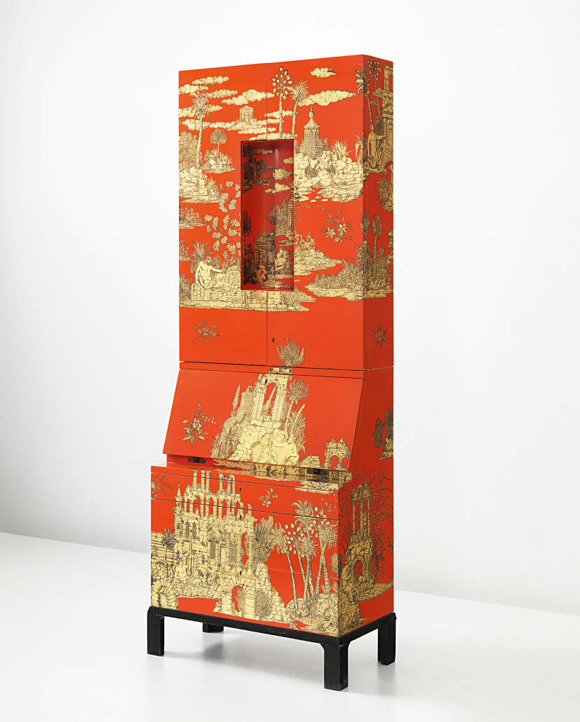 This illuminated trumeau with writing surface and drawers below is covered with an exotic 'Gran Coromandel' scene in gold on a red ground. One of a production of five, the work is marked with the artist's logo and Fornasetti/Milano inside the top drawer. Courtesy Phillips.